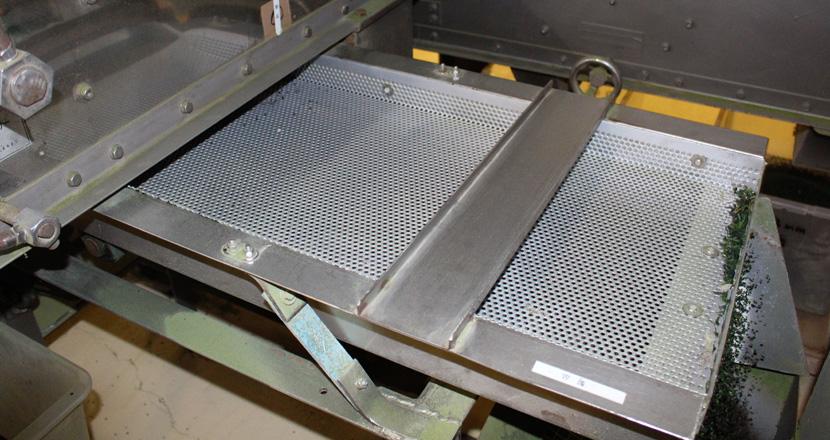 アオサ粉製造工程 パンチングトラフ